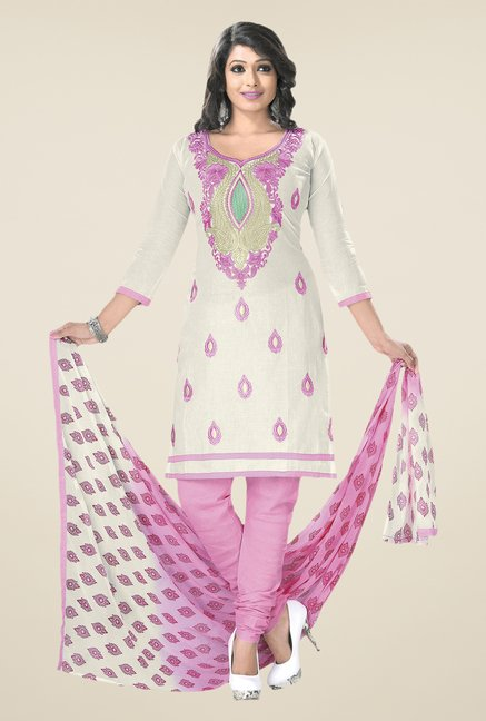 Salwar Studio White & Lavender Embroidered Dress Material
