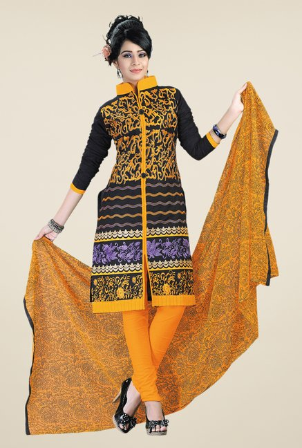 Salwar Studio Yellow & Black Embroidered Dress Material