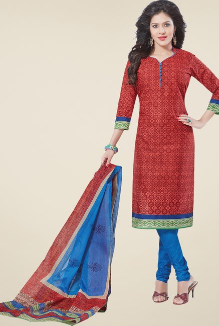 Salwar Studio Red & Blue Printed Free Size Dress Material