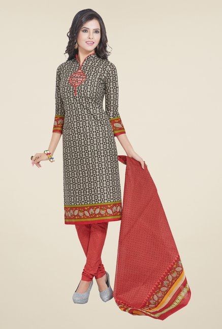 Salwar Studio Grey & Red Printed Dress Material
