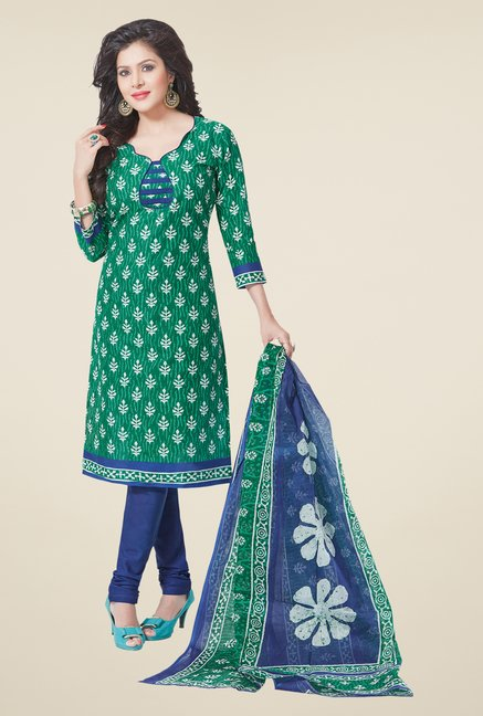 Salwar Studio Green & Blue Cotton Dress Material