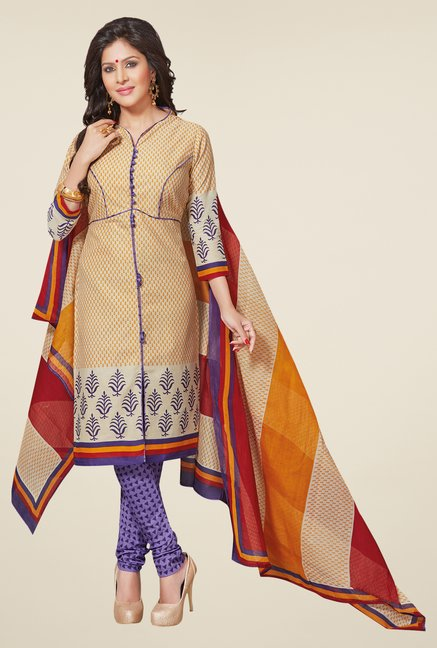 Salwar Studio Mustard & Purple Printed Dress Material