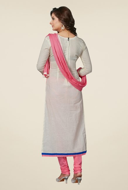 Salwar Studio Off White & Light Pink Dress Material
