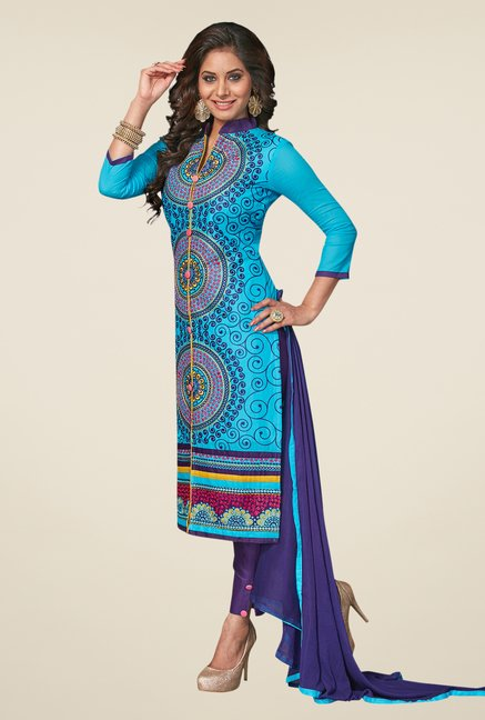 Salwar Studio Sky Blue & Dark Blue Dress Material
