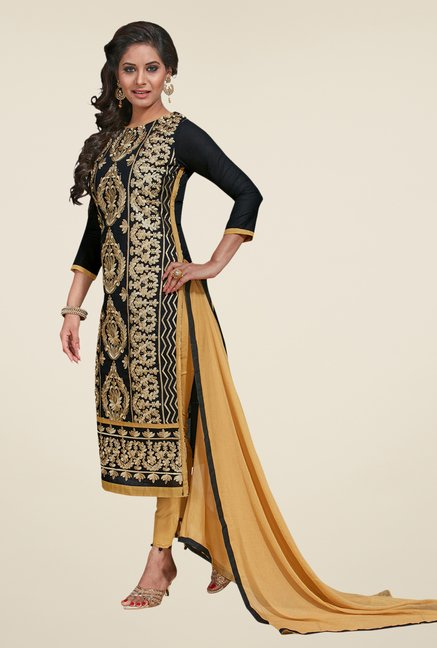 Salwar Studio Black & Beige Embroidered Dress Material