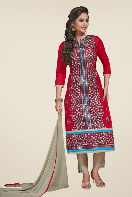 Salwar Studio Red & Grey Embroidered Dress Material