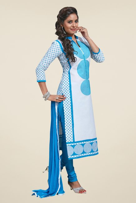 Salwar Studio White & Sky Blue Embroidered Dress Material