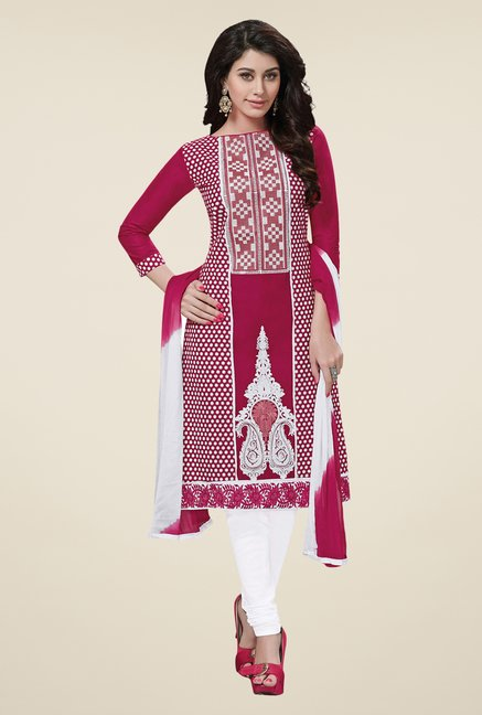 Salwar Studio Pink & White Embroidered Cotton Dress Material