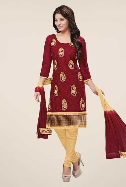 Salwar Studio Maroon & Beige Cotton Dress Material