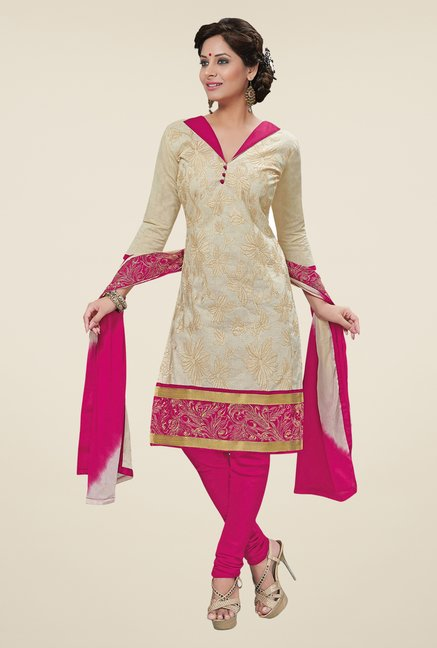 Salwar Studio Pearl White & Pink Embroidered Dress Material