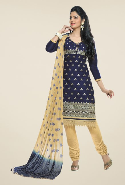 Salwar Studio Navy & Fawn Embroidered Cotton Dress Material
