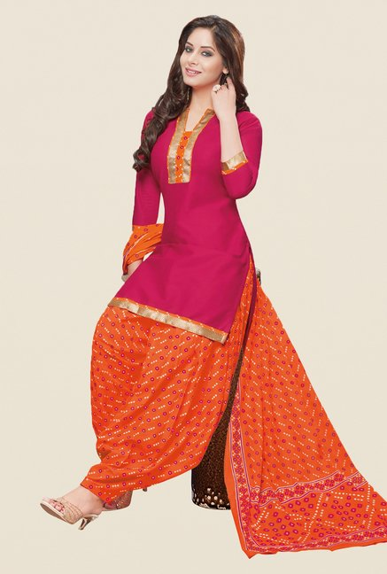 Salwar Studio Pink & Orange Bandhani Patiyala Dress Material