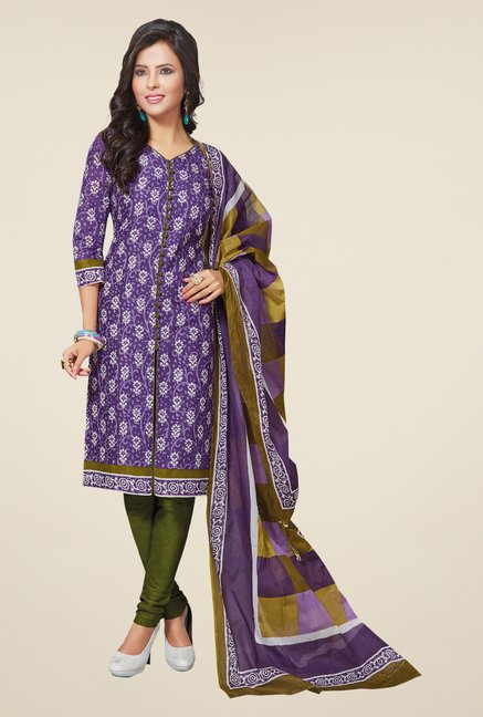 Salwar Studio Violet & Mehndi Printed Dress Material