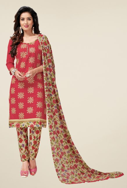 Salwar Studio Red & Beige Lawn Embroidered Dress Material