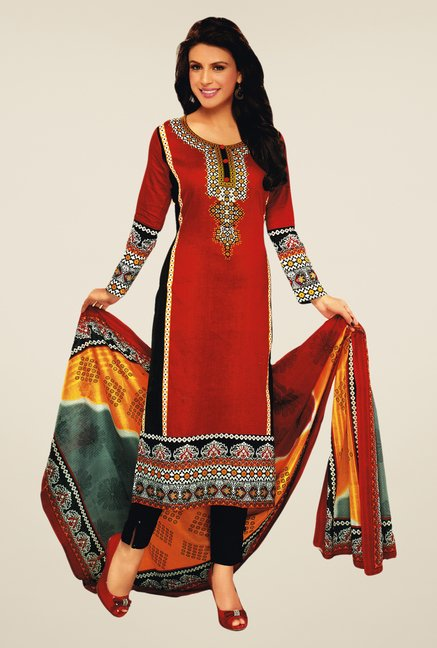 Salwar Studio Red & Black Lawn Satin Printed Dress Material