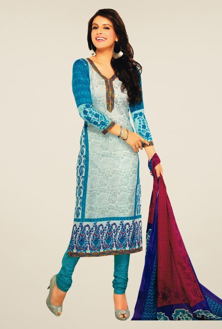 Salwar Studio Blue & Grey Lawn Satin Printed Dress Material