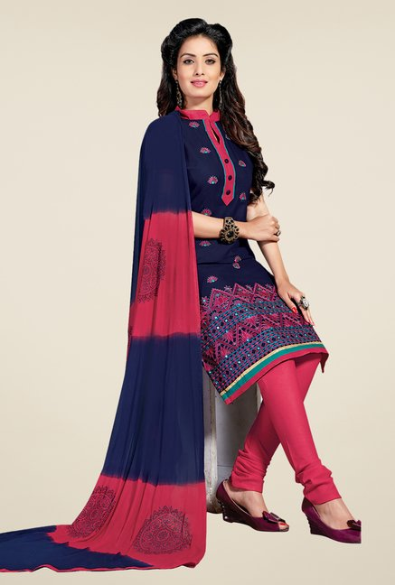Salwar Studio Dark Blue & Pink Lawn Dress Material