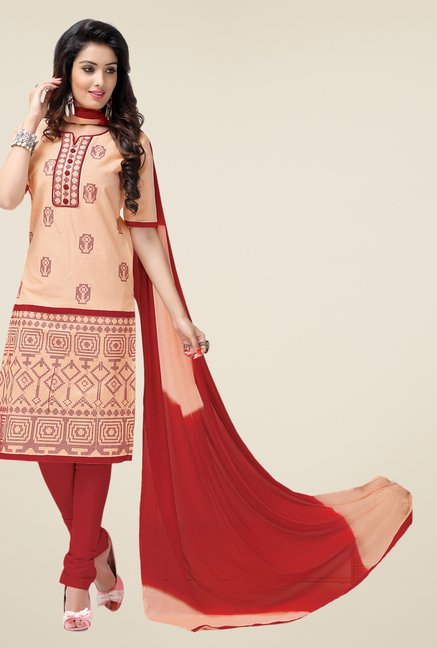 Salwar Studio Cream & Red Lawn Embroidered Dress Material