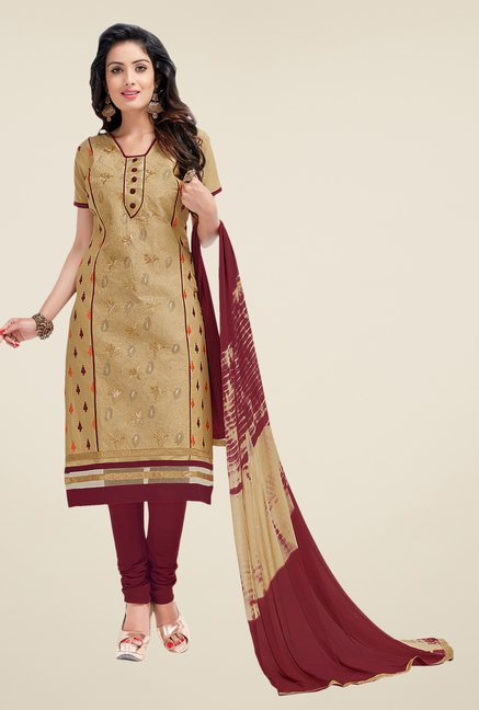 Salwar Studio Beige & Maroon Lawn Embroidered Dress Material