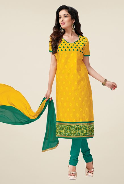Salwar Studio Yellow & Rama Green Lawn Dress Material