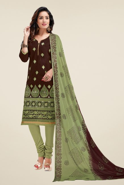 Salwar Studio Brown & Mehndi Lawn Embroidered Dress Material