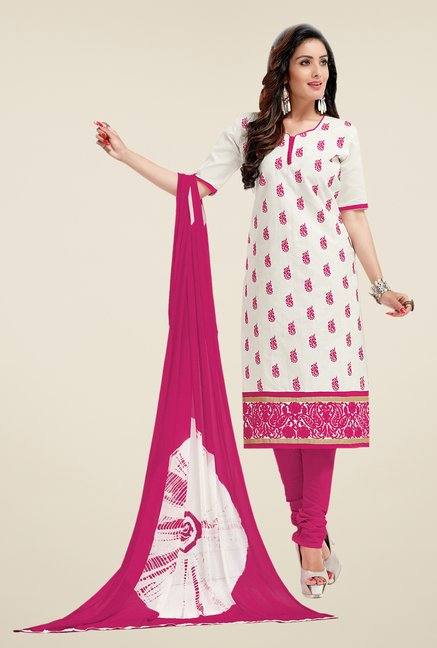 Salwar Studio White & Pink Lawn Embroidered Dress Material