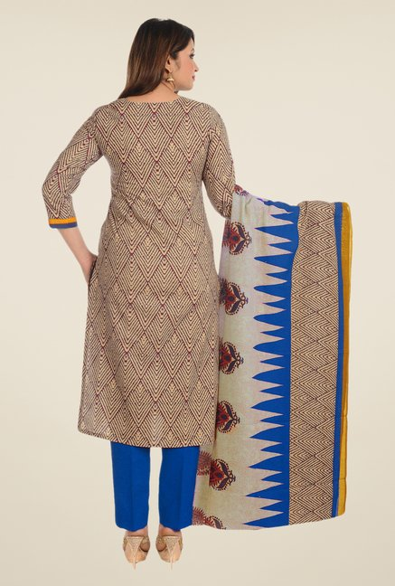 Salwar Studio Red & Blue Printed Cotton Dress Material
