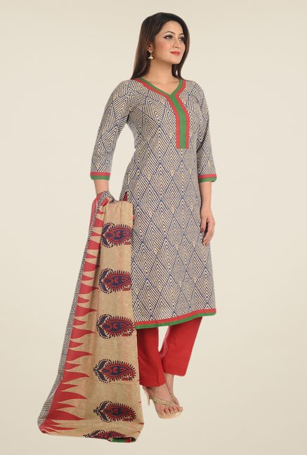 Salwar Studio Blue & Red Printed Cotton Dress Material