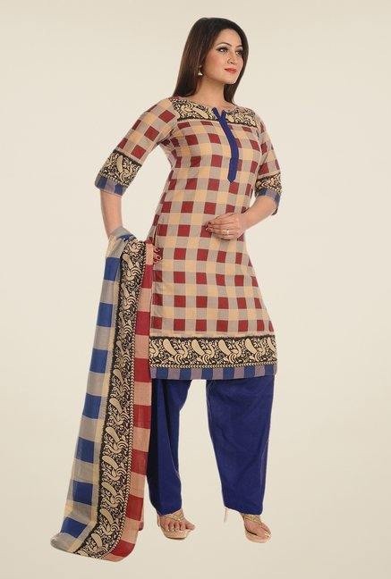 Salwar Studio Brown & Blue Checks Dress Material