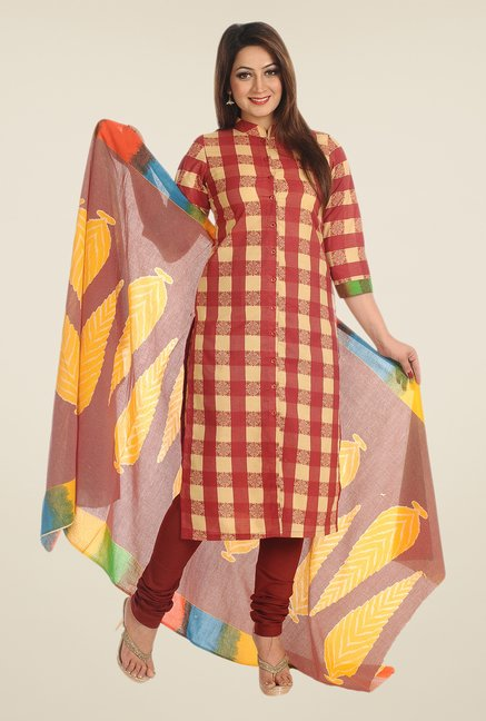 Salwar Studio Beige & Maroon Checks Dress Material