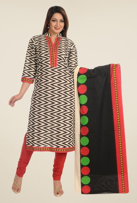 Salwar Studio Black & Red Cotton Free Size Dress Material
