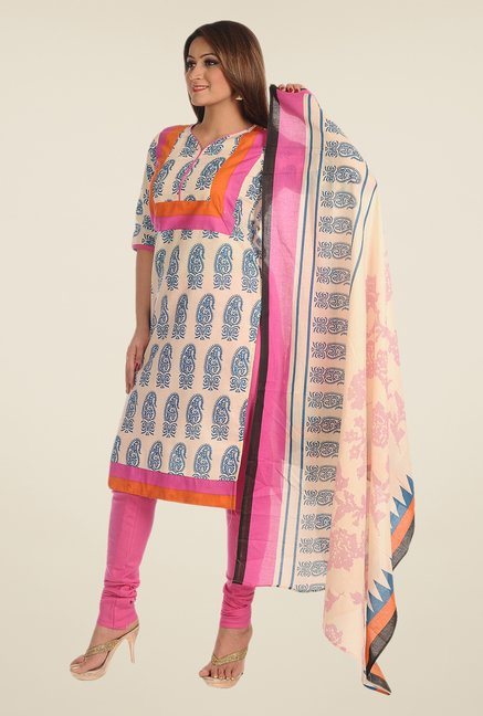 Salwar Studio Royal Blue & Pink Printed Dress Material