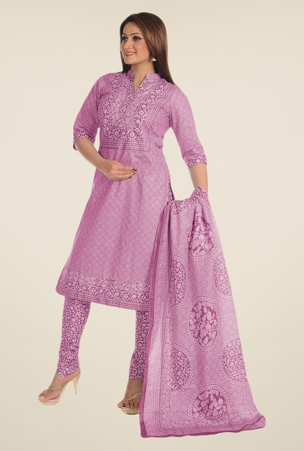 Salwar Studio Purple Printed Dress Material