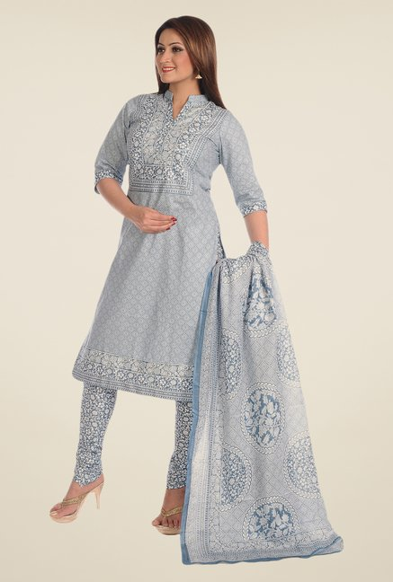Salwar Studio Dust Blue Printed Dress Material