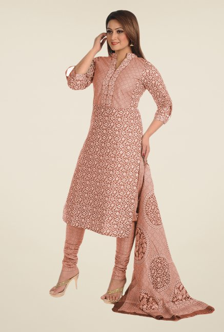 Salwar Studio Rust Printed Dress Material