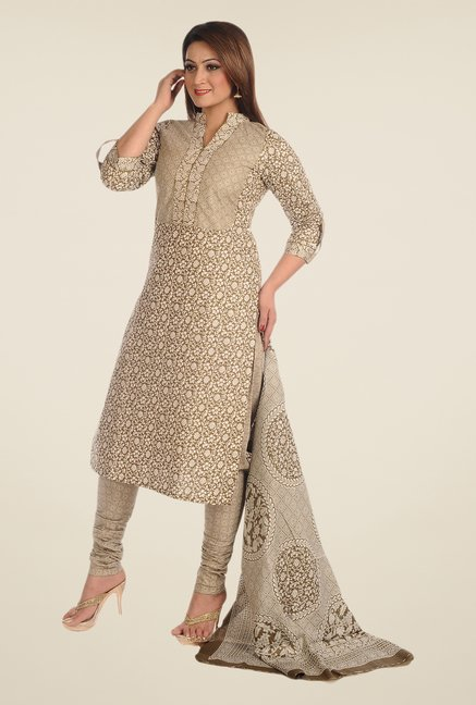Salwar Studio Olive Printed Dress Material
