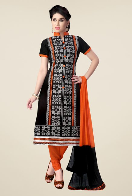 Salwar Studio Black & Orange Cotton Dress Material