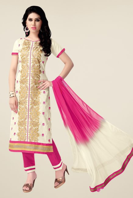 Salwar Studio Cream & Pink Embroidered Cotton Dress Material
