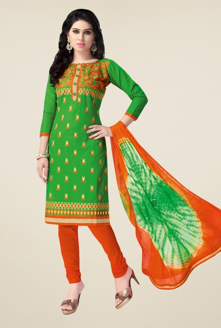 Salwar Studio Green & Orange Embroidered Dress Material