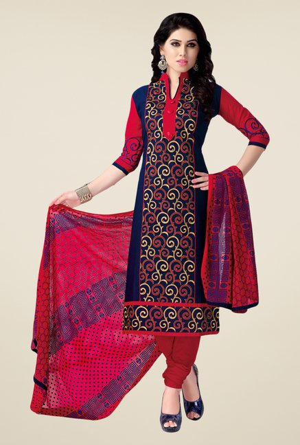 Salwar Studio Dark Blue & Red Cotton Dress Material