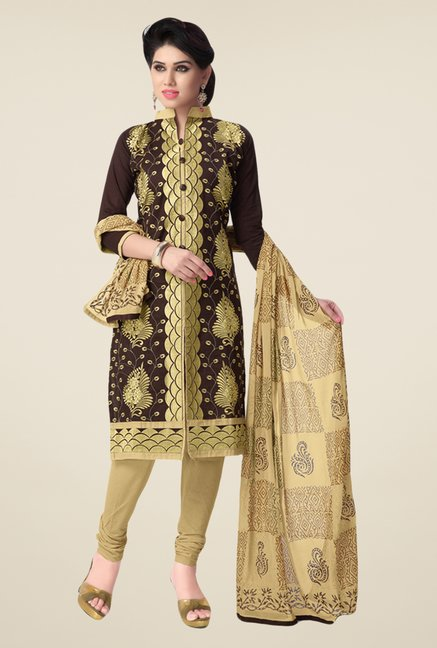 Salwar Studio Coffee & Beige Embroidered Dress Material