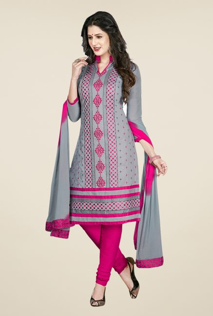 Salwar Studio Grey & Pink Embroidered Cotton Dress Material