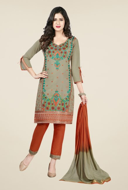 Salwar Studio Grey & Brown Embroidered Dress Material