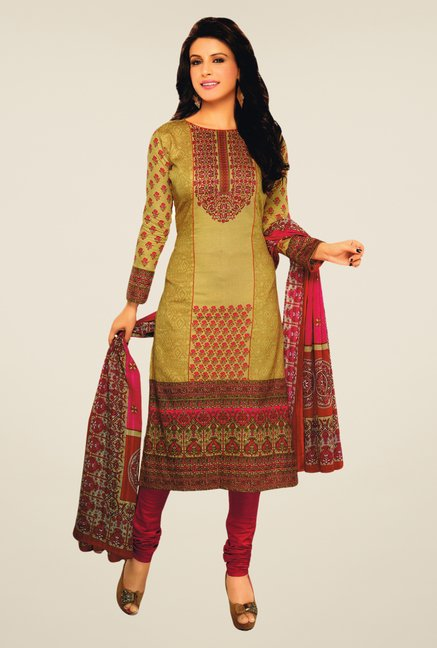 Salwar Studio Beige & Pink Lawn Satin Printed Dress Material