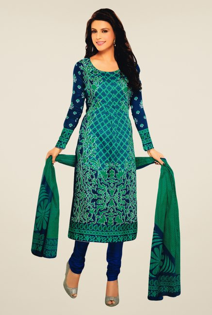 Salwar Studio Rama Green & Navy Lawn Satin Dress Material