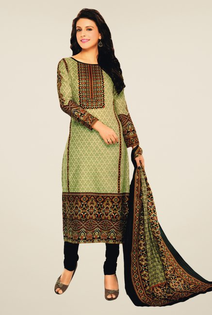 Salwar Studio Cream & Black Lawn Satin Dress Material