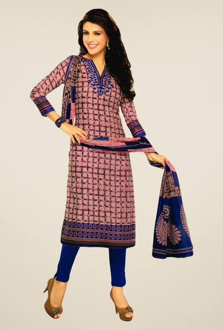 Salwar Studio Pink & Blue Lawn Satin Printed Dress Material