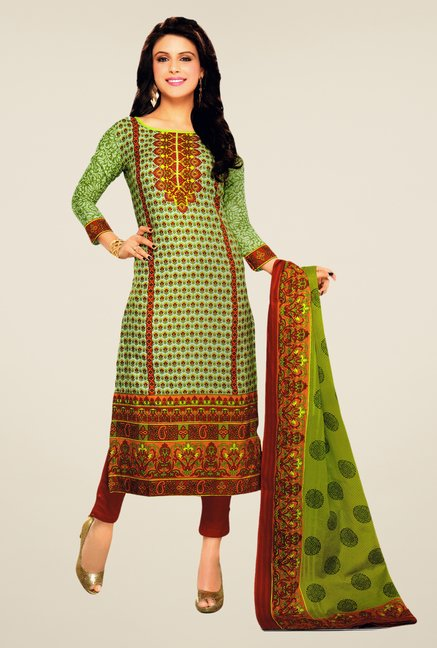 Salwar Studio Green & Red Lawn Satin Printed Dress Material