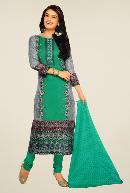Salwar Studio Grey & Rama Green Lawn Satin Dress Material
