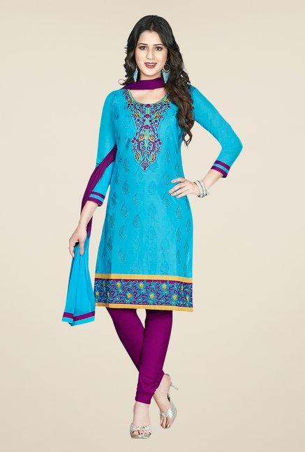 Salwar Studio Blue & Magenta Embroidered Dress Material